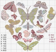 coeur-papillons --- butterflyies - heart --- cross stitch pattern - use all or part on Loom Beadwork Butterfly Cross Stitch, Cross Stitch Heart, Cross Stitch Animals, Cross Stitch Flowers, Cross Stitching, Cross Stitch Embroidery, Embroidery Patterns, Hand Embroidery, Cross Stitch Designs