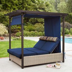 Paradise Retreat Day Bed and Pergola by Pacific Casual LLC, at Costco. Shown with both backrests up, with pergola cover/curtain at the foot side up and tied in place. Outdoor Decor, Outdoor Bed, Patio Furniture, Lounger, Pergola Canopy, Porch Design, Outdoor Furniture, Outdoor Daybed, Double Chaise Lounge
