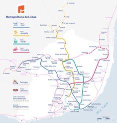 Lisbonne a un système de métro (train souterrain métropolitain, Métro de Lisbonne) complété par un système de trains urbains et suburbains et de tramway. Le Métro de Lisbonne est considéré comme l'un des plus beaux métro d´Europe avec celui-là de Moscou et celui-là de Paris. Ses stations sont à la fois des espaces artistiques et architectoniques. Il a été inauguré en 1959 avec une longueur de 6,5 km.... #lisbonne #metro #plan