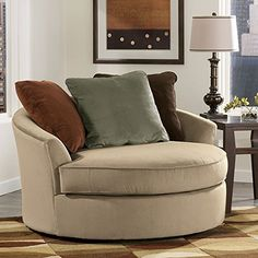 Beau Laken Mocha Oversized Swivel Accent Chair
