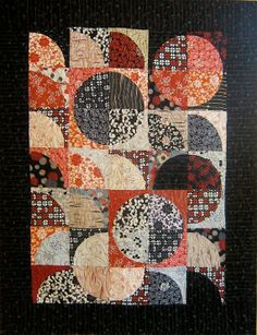 Patchwork Quilt - black and red Japanese Drunkards Path wall hanging by kallistiquilts