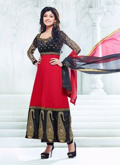 Buy Bollywood Shilpa Shetty Red Ankle Length Kalidar Suit US$ 87.84 . Shop online - bollywood-ankle-length-anarkali.blogspot.co.uk/2014/04/buy-bollywood-shilpa-shetty-red-ankle.html