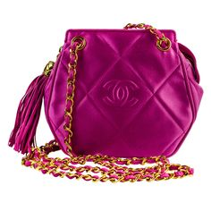Chanel Pink Satin Crossbody Shoulder Bag | From a collection of rare vintage handbags and purses at http://www.1stdibs.com/fashion/accessories/handbags-purses/