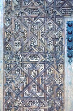 Image SPA 0214 featuring door or doorway from the Alhambra, in Granada, Spain, showing Geometric Pattern using carved, inlaid or painted woodwork.