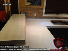 Primer coat applied #unlimited #designs #options with our #diy #metallicepoxy #countertop #resurfacing #kits turn your #countertops into a #peaceofart #kitchendesign #kitchencounter #resurfacing #coatings #epoxy #epoxyresin #epoxyart #canada