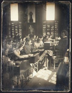 "1850 ""Classroom in the Emerson School for Girls"" photograph. // Is that Mr. M'choakumchild?"