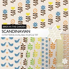 Scandinavian Birds in the Garden | Printable Digital Paper Pack greeting card by Pretty Different Design