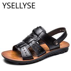 4c3cbe08b9e Plus Size 47 Men Genuine Leather Beach Shoes Slippers Summer Air Soft Flip  Flops Elastic Sandals
