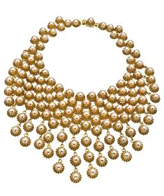 Otazu Gold Filigree and Pearl Bib Necklace