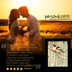 Thank you Sandra! We are so glad that they loved their personal print! The Lovebirds item is a perfect way to celebrate the lover in your life! Canvas Art, Canvas Prints, Art Prints, Unique Romantic Gifts, Black Capped Chickadee, Just She, First Anniversary, One Image, Say I Love You