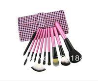 10 PCS Pro rosa caliente compone el kit de cepillo del maquillaje cepillos del maquillaje con el rollo de bolsa Envío Gratis