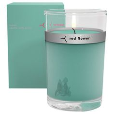 Red Flower, Ocean Petal Topped Candle