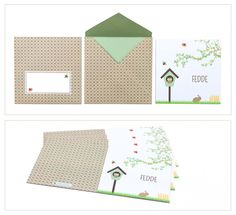 birth announcement card Fedde | sweet | beautiful envelope design | pattern | tree | birdhouse | rabbit | brown | geboortekaartje