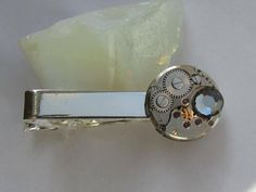 958b2684d201 Steampunk Tie Clip with watch movement and Smoky Grey Swarovski crystal  Watch Gear Tie Bar Mens gears Tie Tack Mens gift ideas