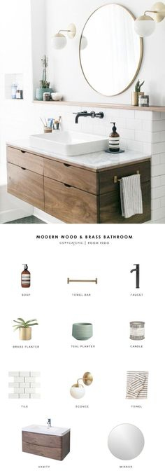 Copy Cat Chic Room Redo A modern wood and brass bathroom seen on SF Girl by Bay gets recreated for less by copycatchic luxe living for less budget home decor and design Modern Room, Trendy Bathroom, Room Redo, Modern Bathroom Design, Amazing Bathrooms, Bathrooms Remodel, Bathroom Design, Bathroom Decor, Bathroom Renovation