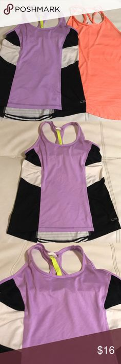 BUNDLE OF TWO CHAMPION TOPS Beautiful tops in excellent condition, purple has self bra attached , made of polyester and spandex Champion Tops Tank Tops