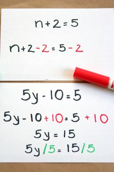 Want to reinforce new middle school math terms (variables, equations), while helping your child solve simple one and two-step equations?