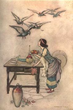 Illustration by Warwick GOBLE (1862-1943) for The Seven doves, from Giambattista Basile (Italian collector of fairytales, 1566-1632), Stories from the Pentamerone. E. F. Strange, editor. London: Macmillan & Co., 1911. The text of this book is based on John Edward Taylor's translation from 1847.