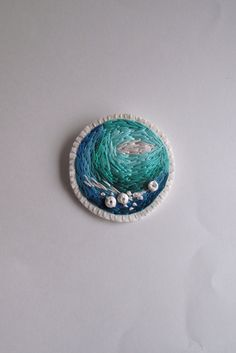 Embroidered abstract brooch with ombre colors by AnAstridEndeavor