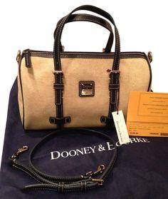 Dooney & Bourke Nwt! Leather Trim Barrel Tote Handbag Navy Blue & Tan Beige Satchel. BEAUTIFUL GIFT!!! SALE!!! WOW!!!