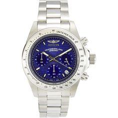 INVICTA 7027 Silver-Tone & Blue Watch ($120) ❤ liked on Polyvore featuring jewelry, watches, blue jewelry, stainless steel bracelet, bezel bracelet, silvertone bracelet and invicta bracelet