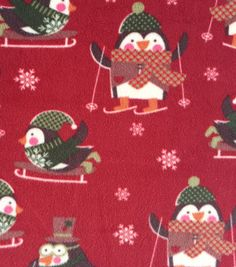 Holiday Inspirations™ Christmas Fabric-Penguins On Red Fleece