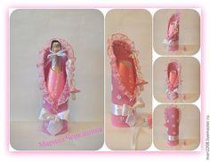 Купить На рождение ребёнка. - розовый, бутылка, Бутылка шампанского, атласные ленты, кружево, бусины