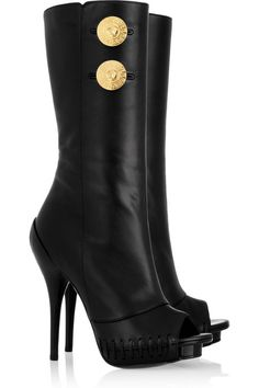 Versace nappa leather peep toe boots