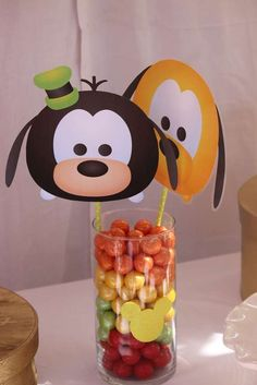 Check out the cute centerpiece at this Tsum Tsum Birthday Party! See more party ideas and share yours at CatchMyParty.com