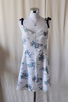 Paris Eiffel Tower Blue Floral and Stripes Slip by vivatveritas