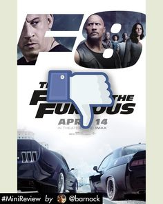 #FateOfTheFurious Is another take on this car saga turned into a soap opera years ago. Everytime it gets harder to connect with the characters and the car sequences are sometimes so exaggerated it is harder to get excited even more because there area lot of green screen scenes here. It would be good to see a future sequel that relies less on vfxs and creates more practical car sequences. And please give it a decent final to the saga... SOON.  #MiniReview by @barnock