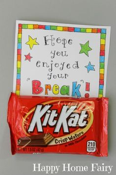 Every teacher needs a little chocolate to help them get back to school! :-) LOVE this FREE Printable!!! What a fun gift for the first day!