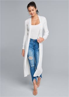 Pointelle Blouse Sleeve Duster,Basic Cami Two Pack,Triangle Hem Jeans,High Heel Strappy Sandals White Sweaters, Sweaters For Women, Jeans And Flats, Hem Jeans, Strappy Sandals, Duster Coat, Plus Size, My Style, Blouse