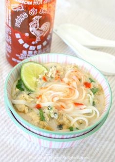 Coconut Lime Noodle Soup with Sriracha