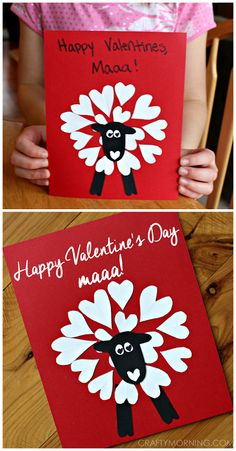 """Heart shape sheep valentine card/craft for kids to make that says """"happy valentine's day maaa!""""   CraftyMorning.com"""