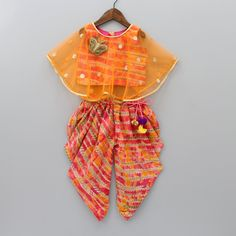 Pre Order: Multicolour Top With Attached Cape And Printed Dhoti Baby Girl Dress Design, Girls Frock Design, Kids Frocks Design, Baby Frocks Designs, Kids Dress Wear, Kids Gown, Kids Wear, Baby Girl Birthday Dress, Baby Girl Party Dresses