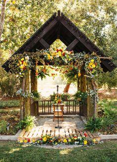 colorful garland ceremony decor