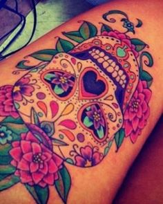 Calavera de color | Tattoo Ideas Central    @Misty Schroeder Schroeder Schroeder Schroeder Schroeder Dawn what do you think of this one?
