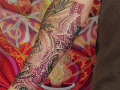 modern colorful paisley down arm