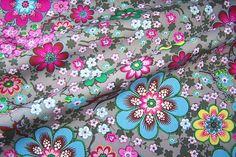 J.Swafing Albella Baumwoll Popeline Stoff Blumen Blüten Zweige grau farbenmix