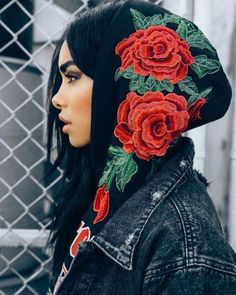 Embroidered Rose Black Hoodie