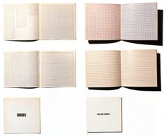 Artists' book: Sol LeWitt. left: Grids, Using All Combinations of Straight, not Straight, Not-Straight and Broken Lines. Brussels: Pour écri...