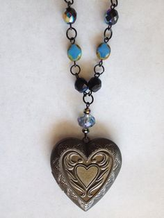 Heart Locket Necklace. with Blue & Black Czech by SugarDoveJewelry, $45.00