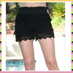NWT Black crochet shorts Purchased on Zulilly, size S-M, more of a small than a medium, would fit a 5/6 well. New never worn, only to try on. Makes a great gift! 🎁 Ellie Kate Shorts
