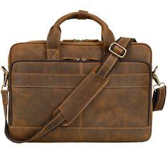 """Jack&Chris Men's Genuine Leather Briefcase Messenger Bag Attache Case 15.6"""" Laptop, MB005B"""