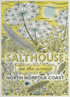 Angie Lewin's 'Salthouse' linocut poster