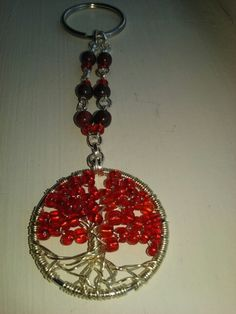 Red Tree of Life Keychain