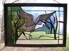 Dancing Great Blue Heron Stained Glass Panel by RedfordGlassStudio, $175.00
