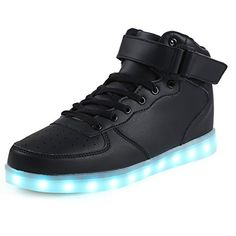 78d03e5e0919f3 Topteck Mens High Tops Light Up Shoes Funny Male LED Flashing Sneakers With  Lights Adult Tennis Boots Black   You can find more details by visiting the  ...
