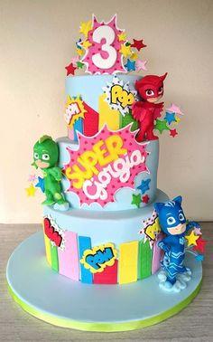 Pj Masks Birthday Cake, 3rd Birthday Cakes, Superhero Birthday Party, Birthday Party Themes, 4th Birthday, Torta Pj Mask, Torta Minnie Mouse, Pjmask Party, Party Ideas